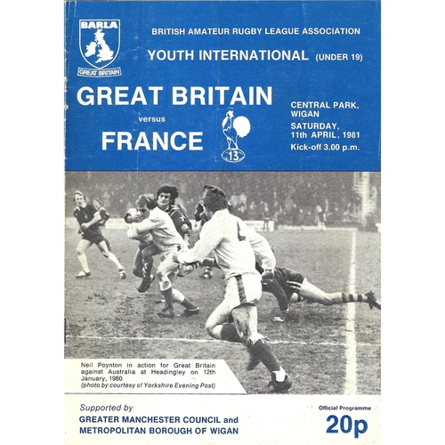 1981 Great Britain v France Amateur Youth (U-19) International Match Rugby League Programme