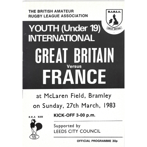 1983 Great Britain v France Amateur Youth (U-19) International Match Rugby League Programme