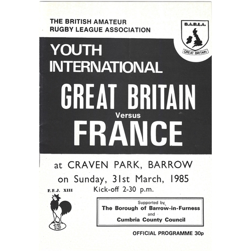 1985 Great Britain v France Amateur Youth International Match Rugby League Programme
