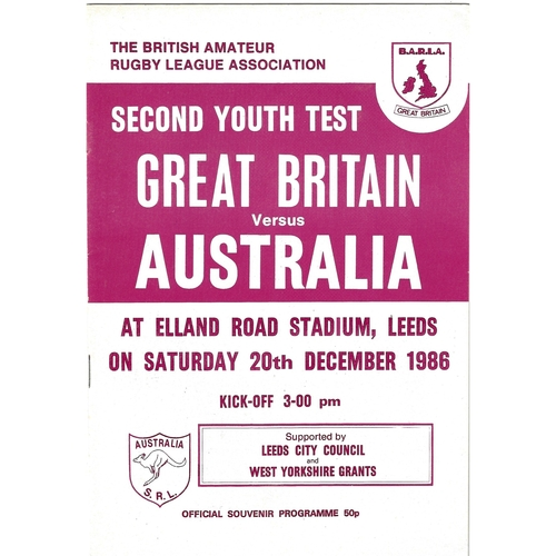 1986 Great Britain v Australia Amateur Youth International Second Test Match Rugby League Programme