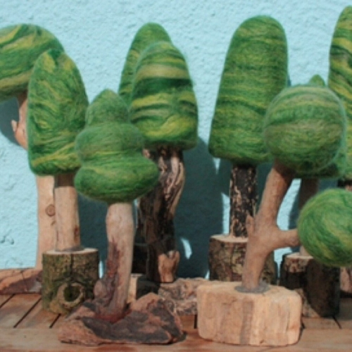 Green Felted Trees