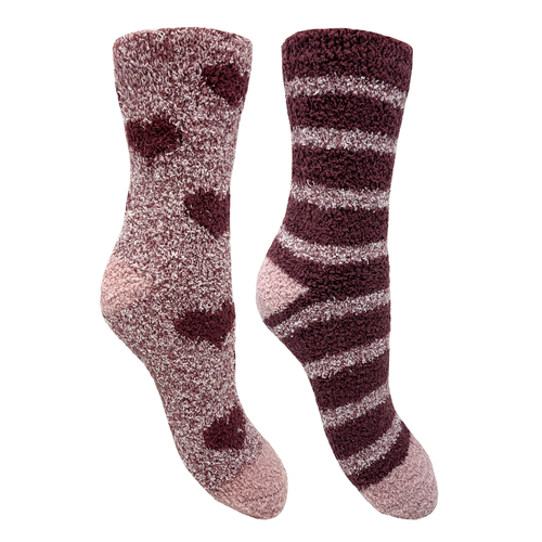 Bramble 2pk Heart/Stripe Fluffy Non Slip Socks