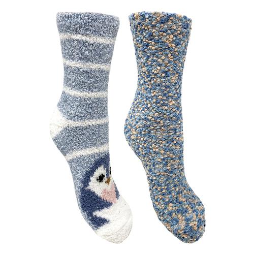 Bramble 2pk Penguin/Mixed Fluffy Non Slip Socks