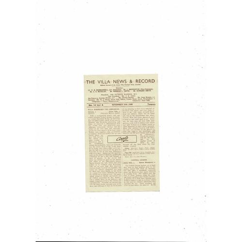 1946/47 Aston Villa v Sheffield United Football Programme