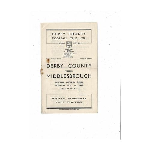 1947/48 Derby County v Middlesbrough Football Programme