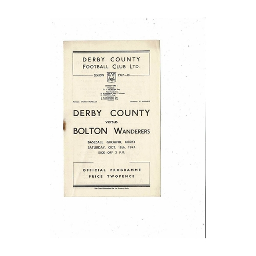 1947/48 Derby County v Bolton Wanderers Football Programme