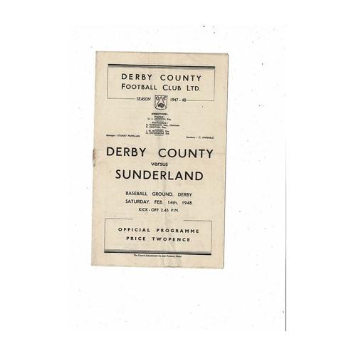 1947/48 Derby County v Sunderland Football Programme