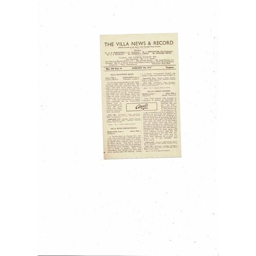 1946/47 Aston Villa v Derby County Football Programme