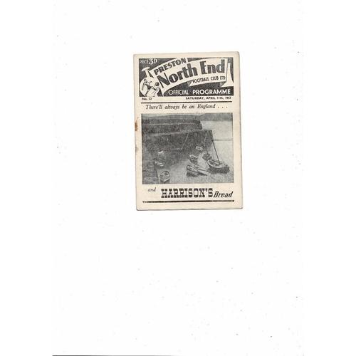1952/53 Preston v Wolves Football Programme