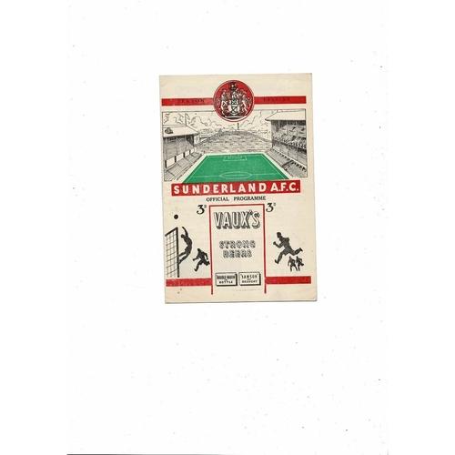 1952/53 Sunderland v Aston Villa Football Programme