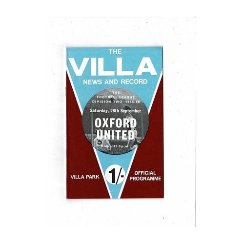 1968/69 Aston Villa v Oxford United Football Programme + League Review