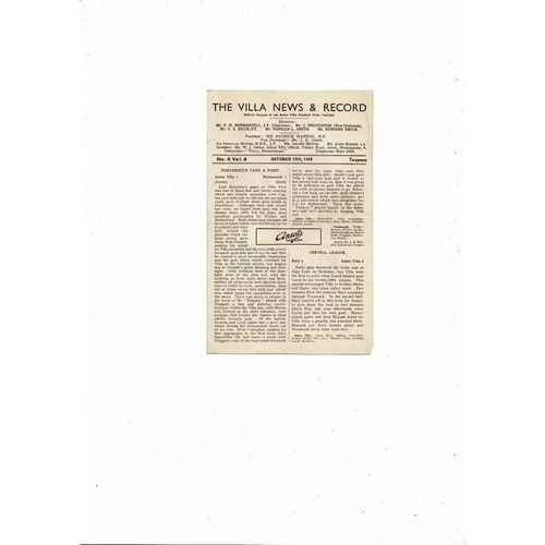 1946/47 Aston Villa v Charlton Athletic Football Programme
