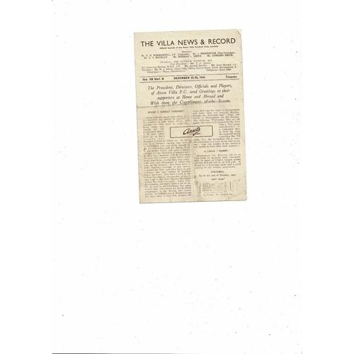 1946/47 Aston Villa v Huddersfield Town Football Programme