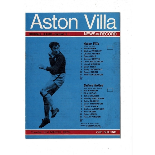1969/70 Aston Villa v Oxford United Football Programme