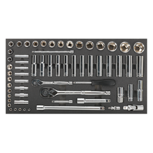 """Tool Tray with Socket Set 62pc 1/4"""" & 1/2""""Sq Drive Metric - Sealey - S01122"""
