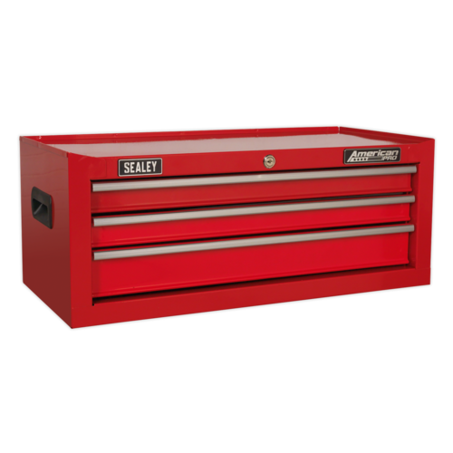 Mid-Box 3 Drawer with Ball-Bearing Slides - Red - Sealey - AP223