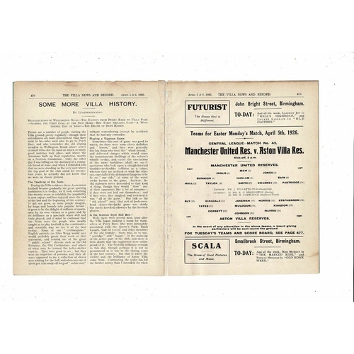 1925/26 Aston Villa v Liverpool + Manchester United Reserves Double Programme ex bound Vol