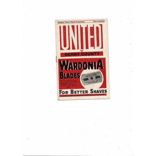 1946/47 Sheffield United v Derby County Football Programme