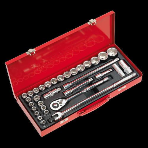 """Socket Set 32pc 1/2""""Sq Drive 6pt WallDrive® - Metric/Imperial - Sealey - AK693"""