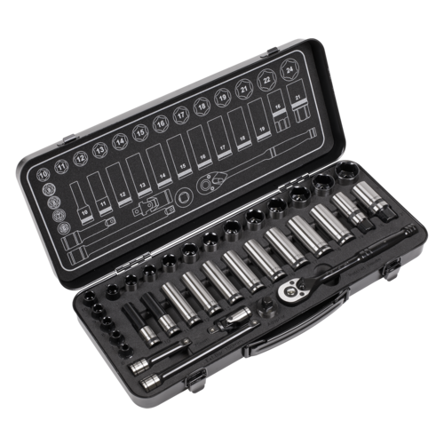 """Socket Set 34pc 3/8""""Sq Drive WallDrive® Metric Black Series - Sealey - AK7971"""