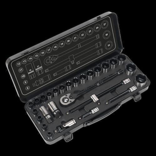 """Socket Set 28pc 1/2""""Sq Drive 6pt WallDrive® Metric Black Series - Sealey -AK7972"""