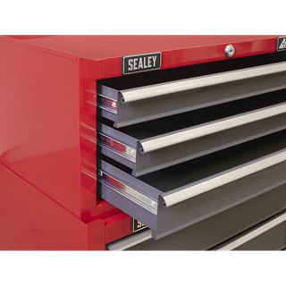 Mid-Box 3 Drawer with Ball-Bearing Slides - Red/Grey - Sealey - AP22309BB