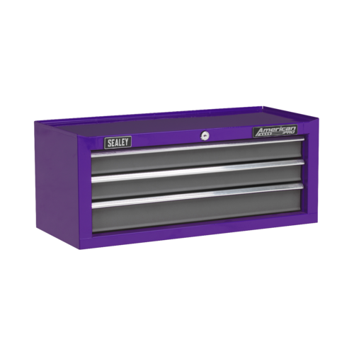 Mid-Box 3 Drawer with Ball-Bearing Slides - Purple/Grey - Sealey - AP22309BBCP