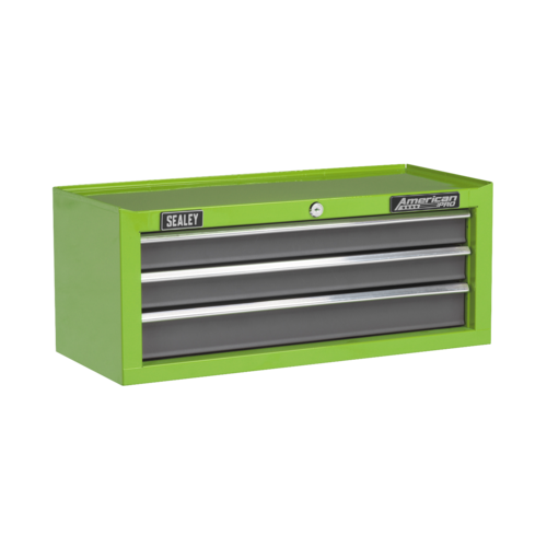 Mid-Box 3 Drawer with Ball-Bearing Slides - Green/Grey - Sealey - AP22309BBHV