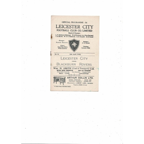 1951/52 Leicester City v Blackburn Rovers Football Programme