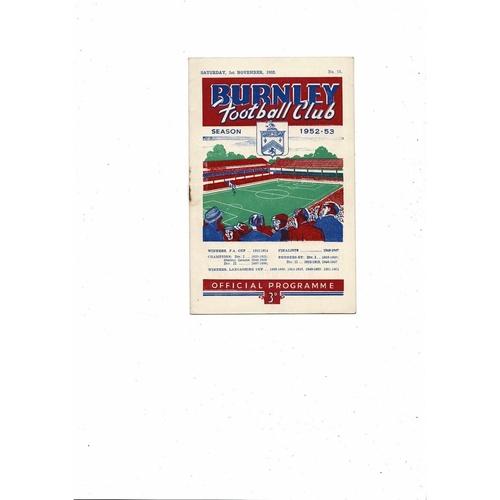 1952/53 Burnley v Portsmouth Football Programme
