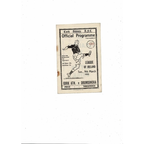 1951/52 Cork Athletic v Drumcondra Football Programme