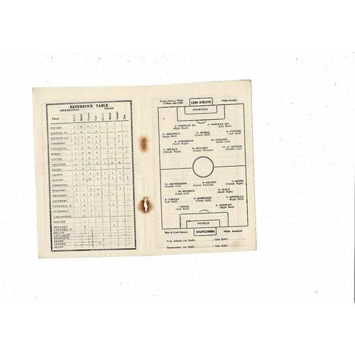1951/52 Cork Athletic v Drumcondra Football Programme