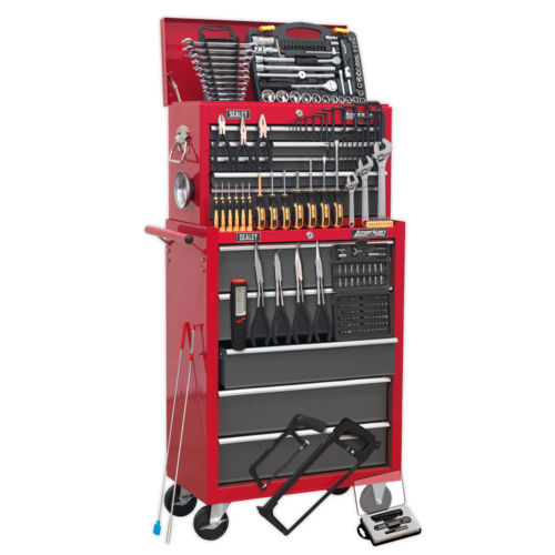 Topchest & Rollcab Combination 14 Drawer with Ball Bearing Slides - Red/Grey - Sealey - AP2250BBCOMBO