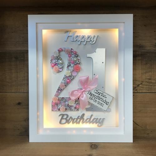 LED Happy 21 st birthday frame