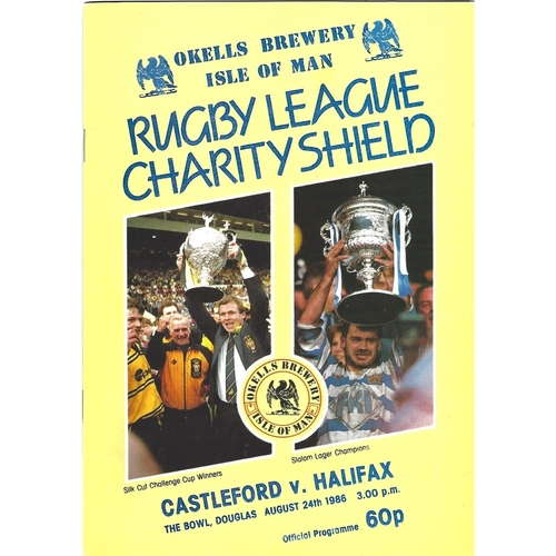 1986 Castleford v Halifax Rugby League Charity Shield Programme