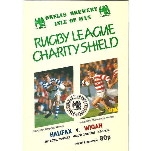 1987 Halifax v Wigan Rugby League Charity Shield Programme