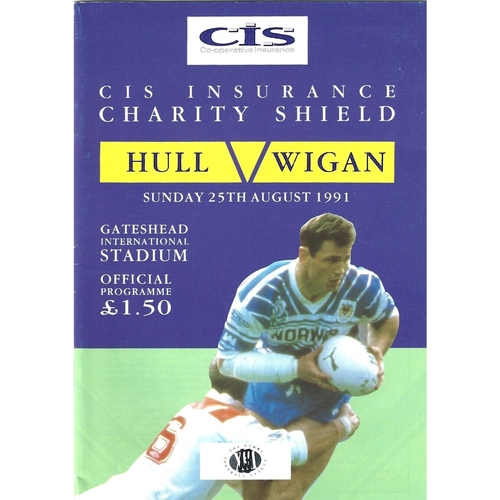 1991 Hull v Wigan Rugby League Charity Shield Programme