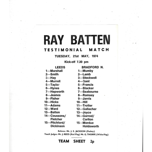 1974 Ray Batten Leeds v Bradford Northern Rugby League Testimonial Match Team Sheet