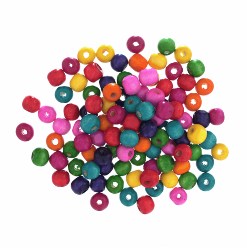 Beads: Wooden: 10mm: Assorted: 100