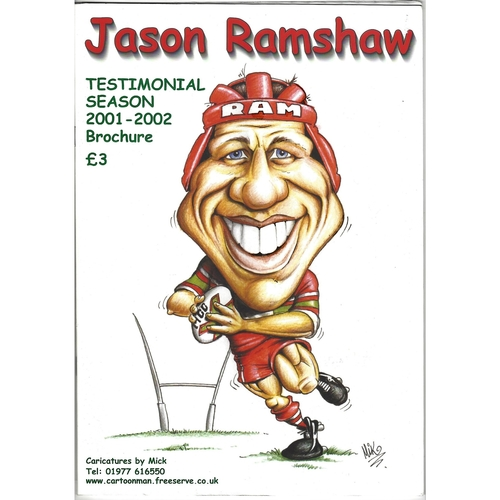 2001 Jason Ramshaw Testimonial Rugby League Brochure & Team sheet for testimonal match on 27th October 2002