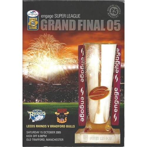 2005 Leeds Rhinos v Bradford Bulls Engage Super League Rugby League Grand Final Programme/Match Ticket/Try-No Try Card/Inflateable