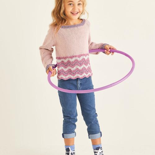 Child's Zig-Zag Lace Crop Sweater Pattern 2538