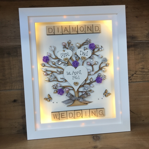 "LED ""Floral Diamond wedding "" frame"