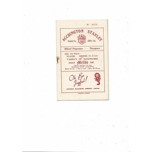 1953/54 Accrington Stanley v Blackpool Lancashire Cup Football Programme