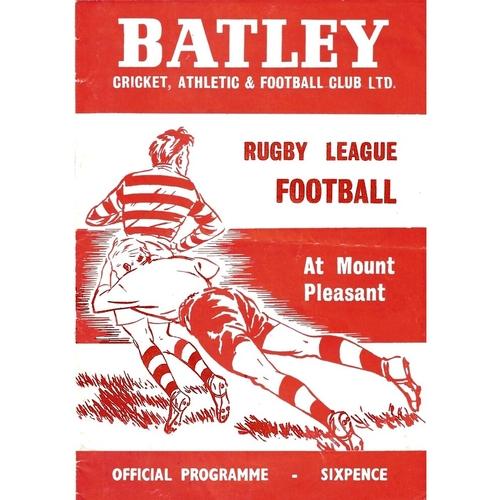 1969/69 Batley v Bradford Northern Rugby League programme