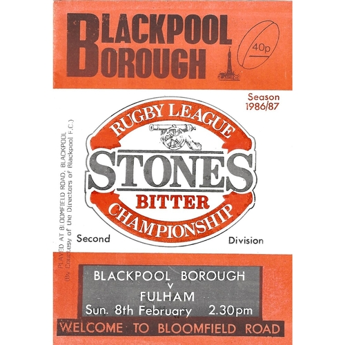 1986/87 Blackpool Borough v Fulham Rugby League programme