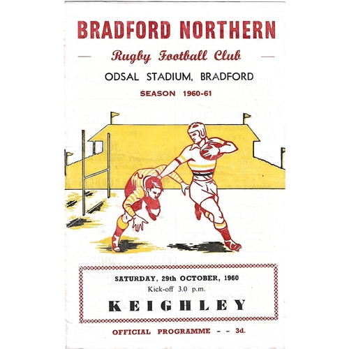 1960/61 Bradford Northern v Keighley Rugby League programme
