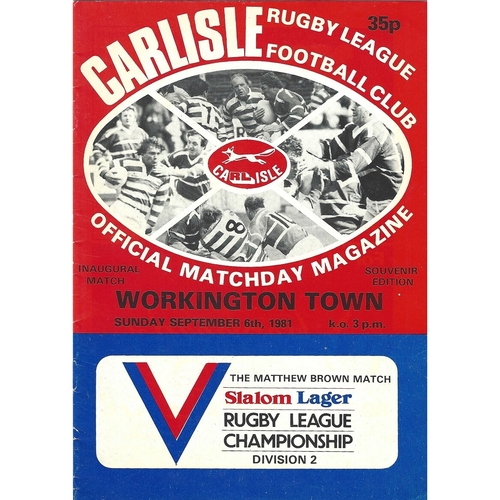 1981/82 Carlisle v Workington Town Rugby League programme