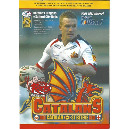 2006 Catalan Dragons v Salford City Reds Rugby League programme & Match Ticket