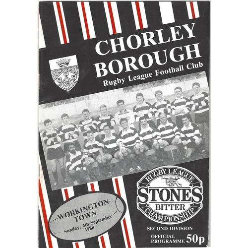 1988/89 Chorley Borough v Workington Town Rugby League programme